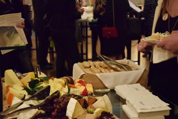 Food laid out for wine and cheese hour at the action. Taken by Temi Adeleye.